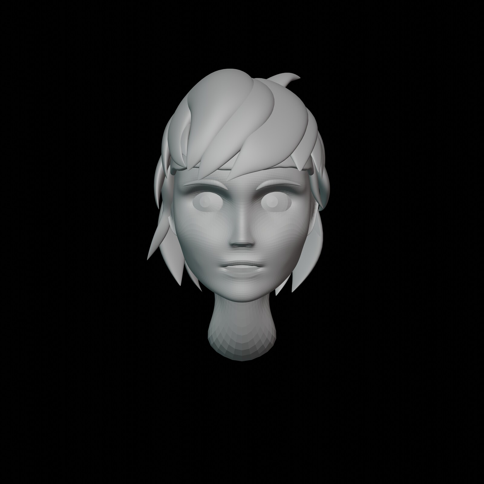 Iteration #4: A bit of a cheek reshape, I found the previous cheek a little too slim, so I made it a bit more robust so it looks like a boy. I rounded off the top of the head a bit more and made it overall a bit less tall.