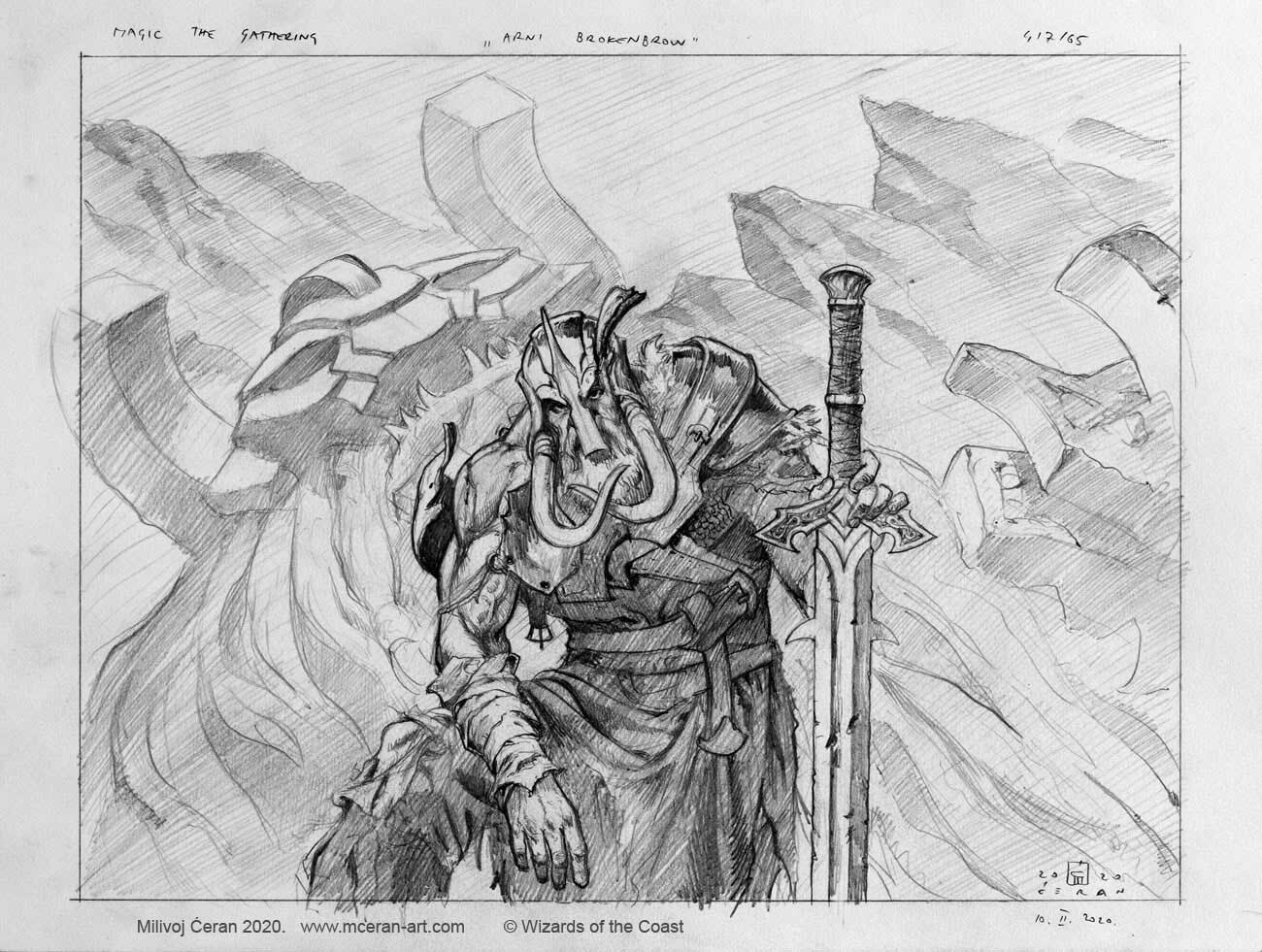 "- ""Arni Brokenbrow"" detailed sketch - a-3, size 29,7 x 42 cm (12x16 inches) - pencil on paper - © Wizards of the Coast - AD Tom Jenkot - Magic the Gathering, ""Kaldheim"""