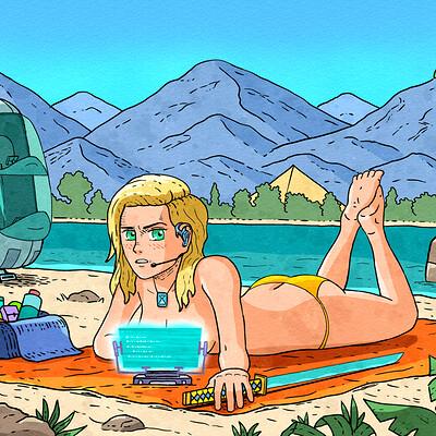 Comic Book Art, Beach