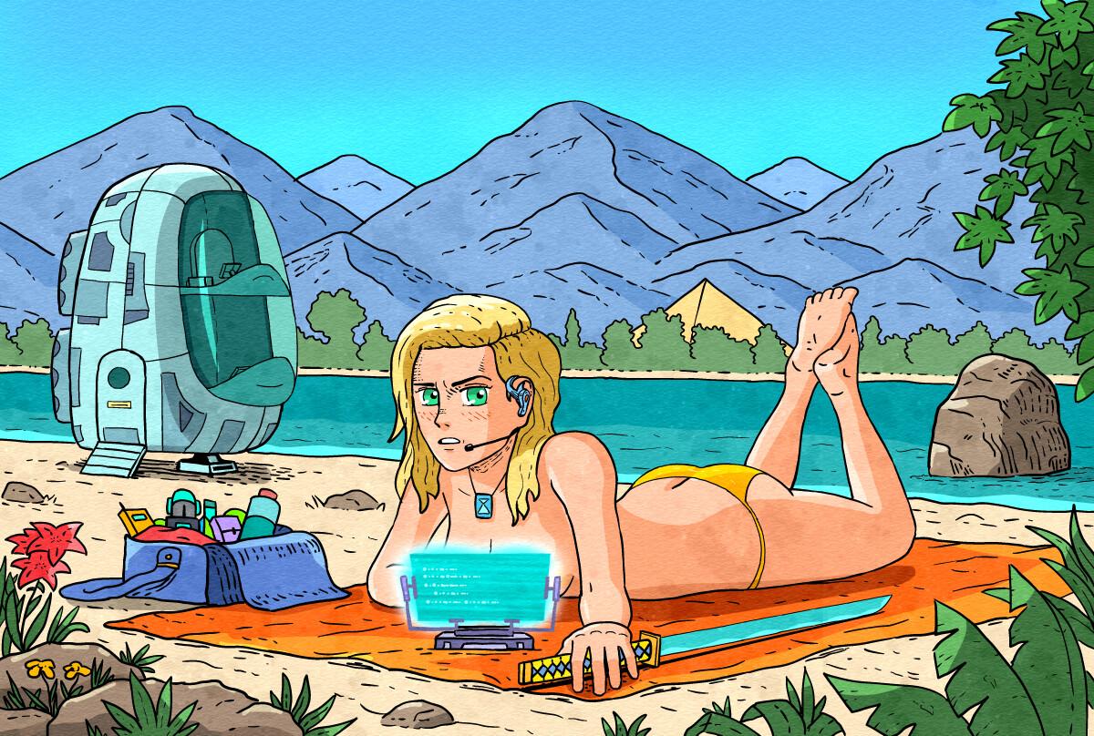 Beach Girl Illustration for sci-fi comic book
