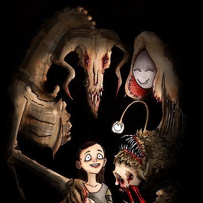 Thomas roberts goulden rather drawn lilium monster friends illustration