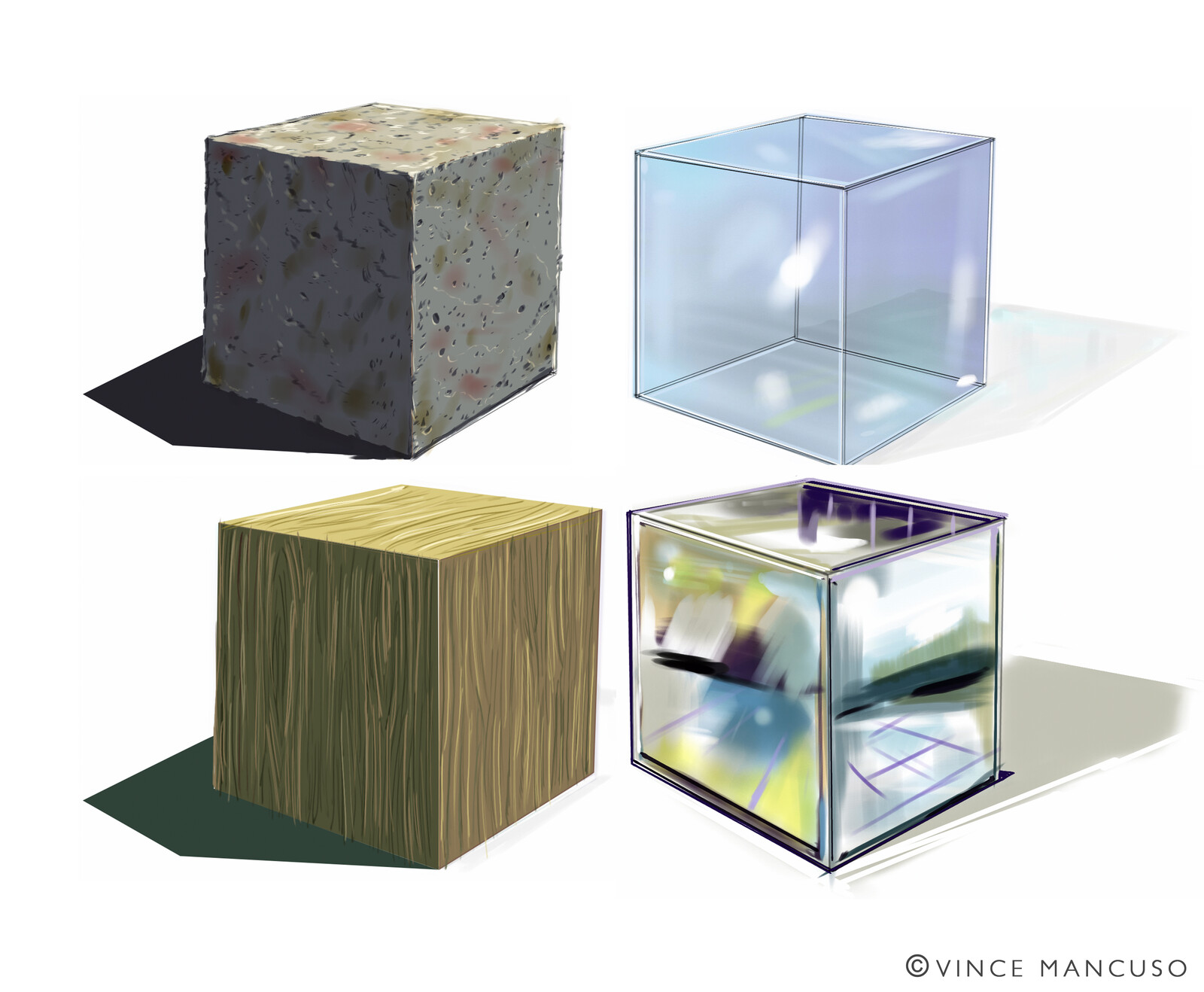Project 9: 4 cubes in chrome, glass, stone and wood.