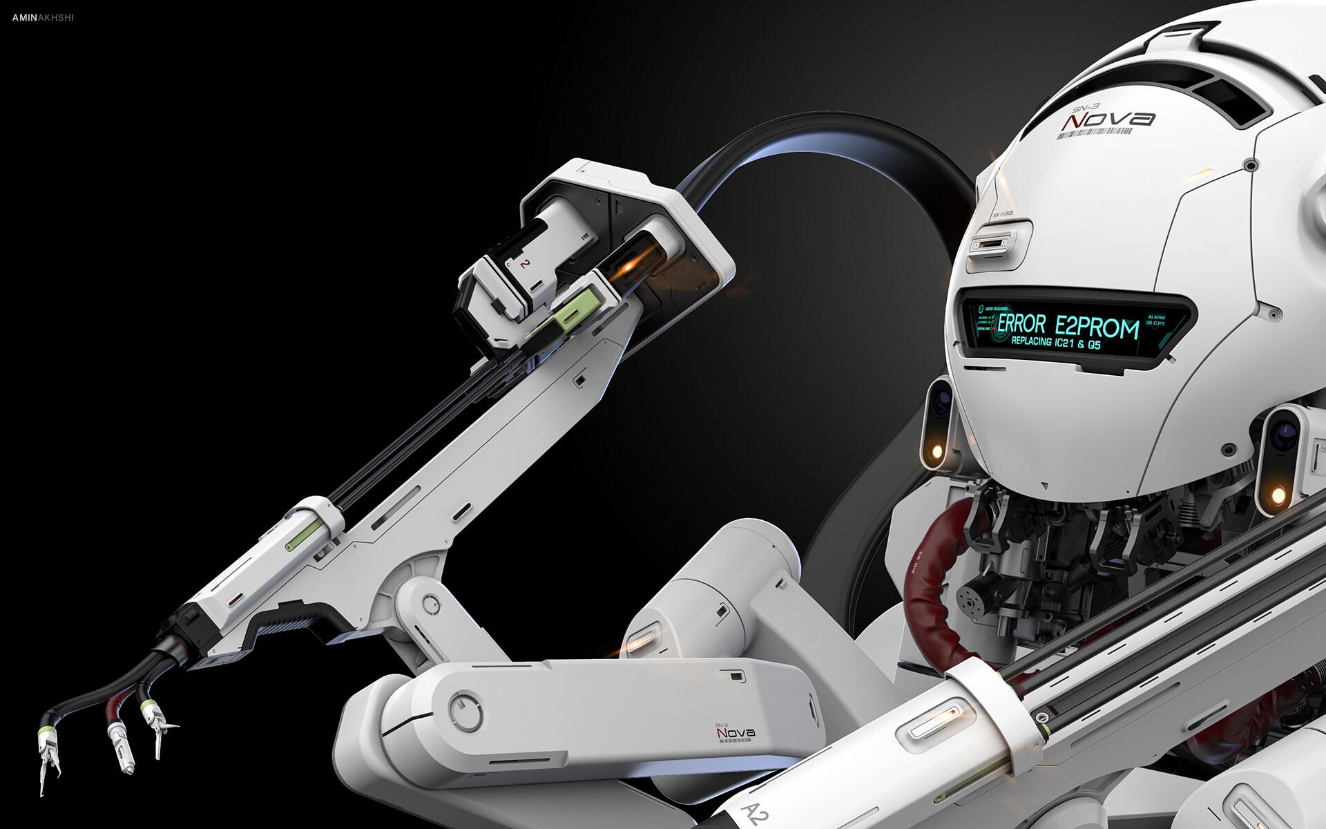 Close-up of a robot
