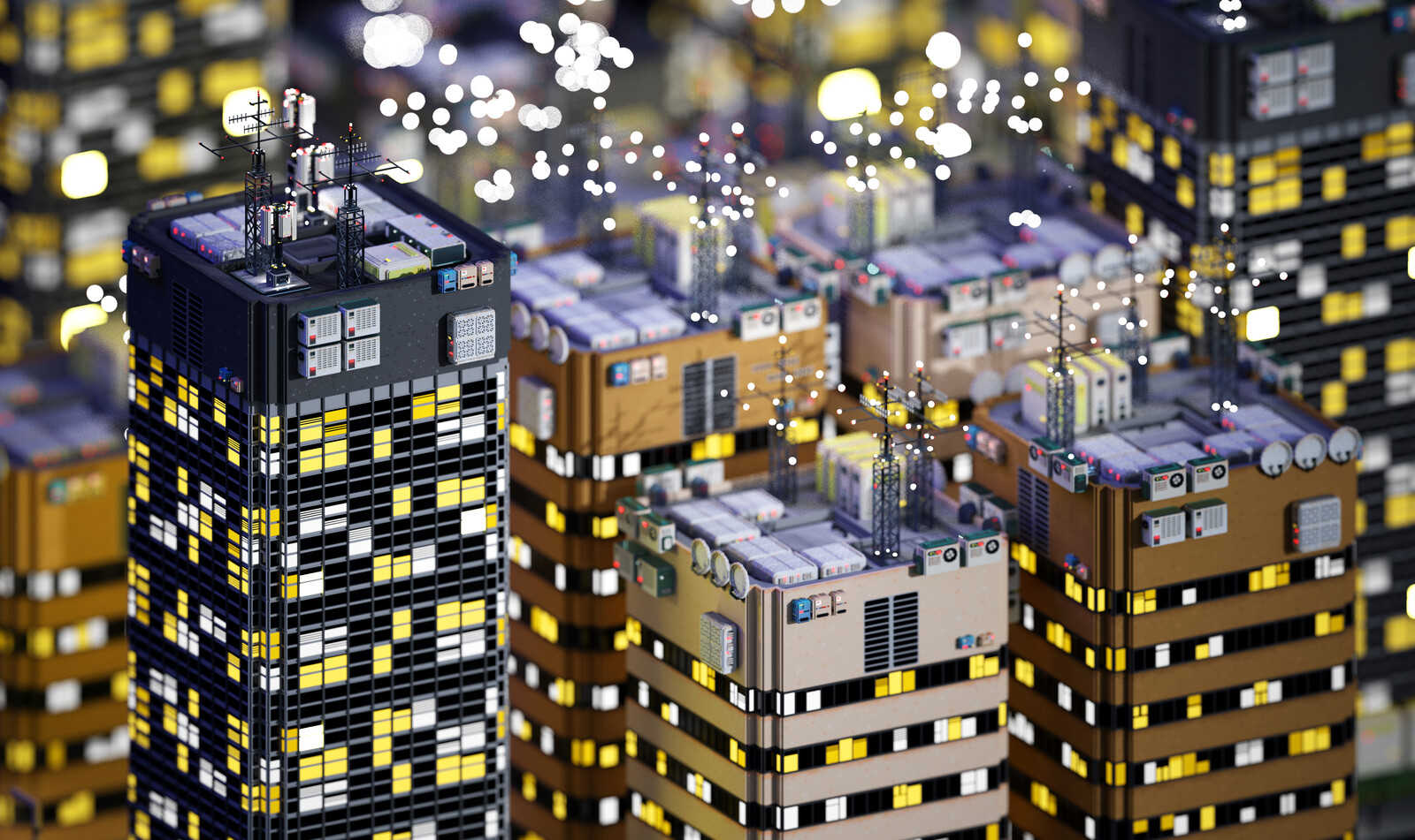 Voxel Game Project - Skyscraper n°3 - Night