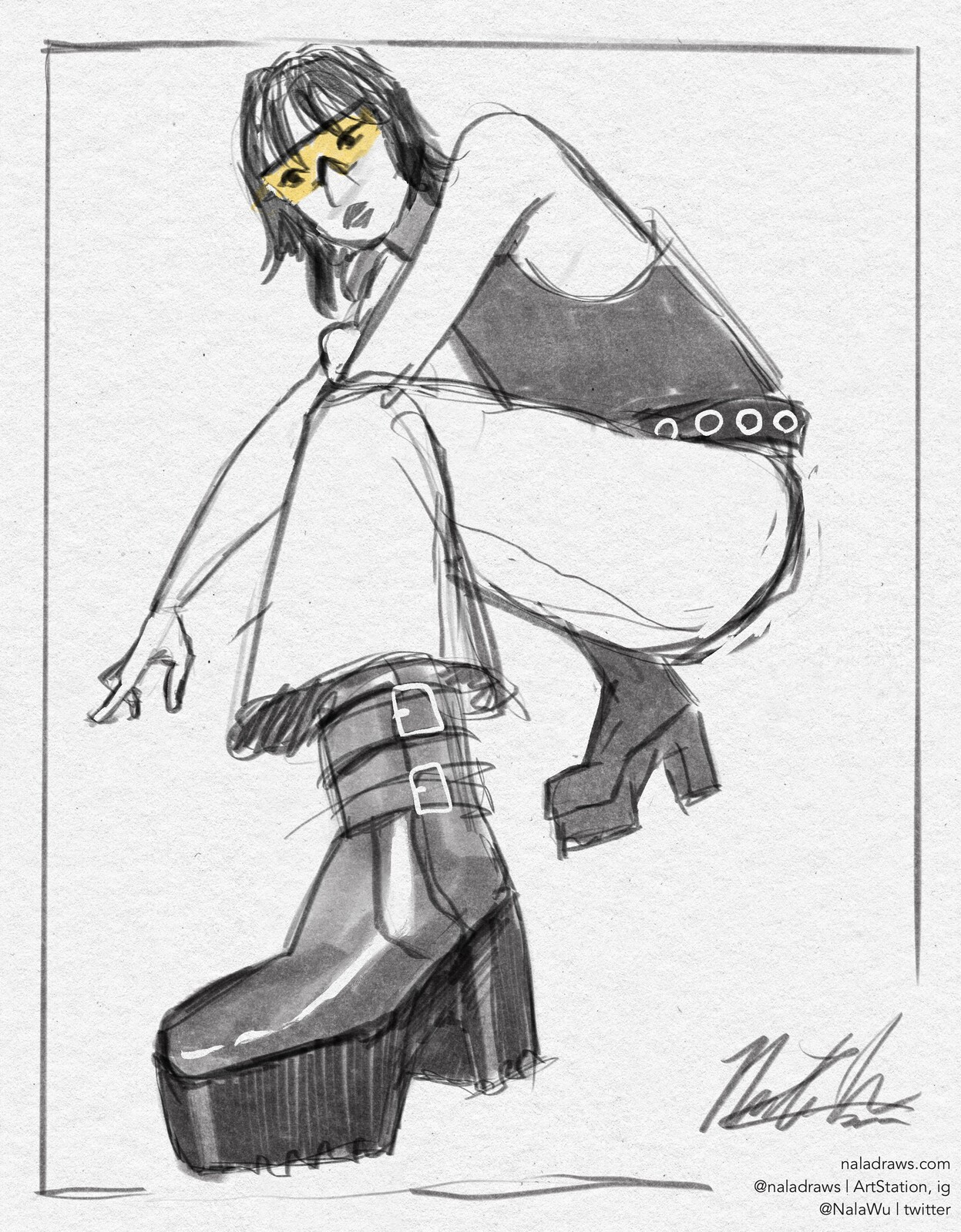 Fashion Sketch - Platform Boots