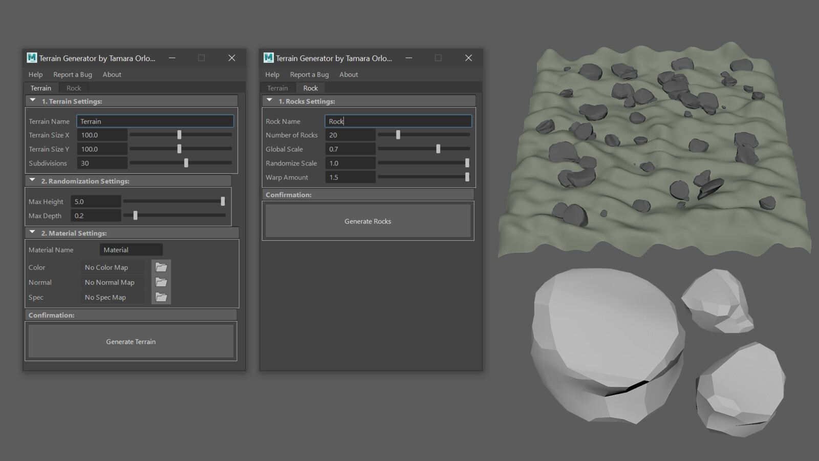 Final UI and generated terrain and rocks