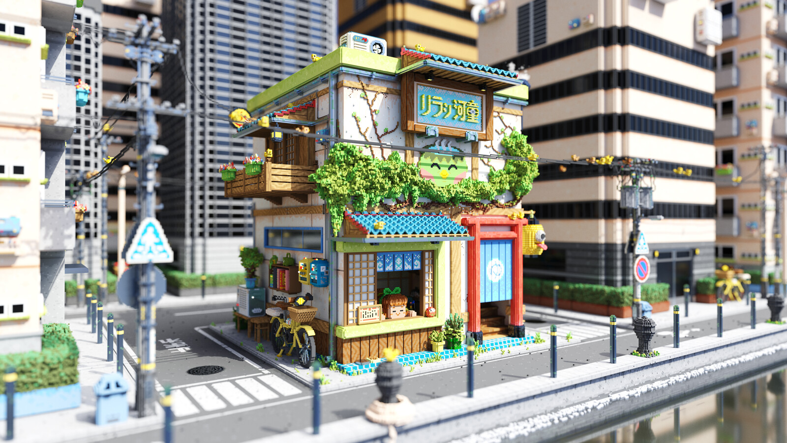 Voxel Game Project - Onsen Street - Day