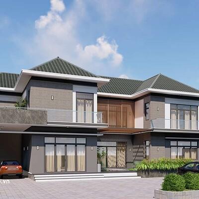 Neohouse architecture mau nha biet thu 2 tang mai thai 1