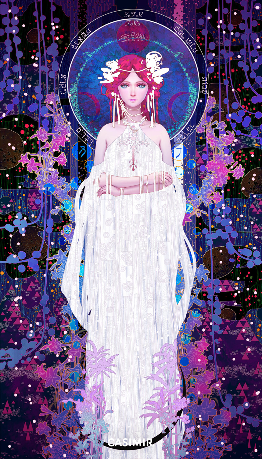 2.The High Priestess / 大祭司  Details -------------------------------------- Limited Edition of 30 Size : 40(W) x 70(H) cm Numbered and signed COA 12 colors high quality print on watercolor paper --------------------------------------