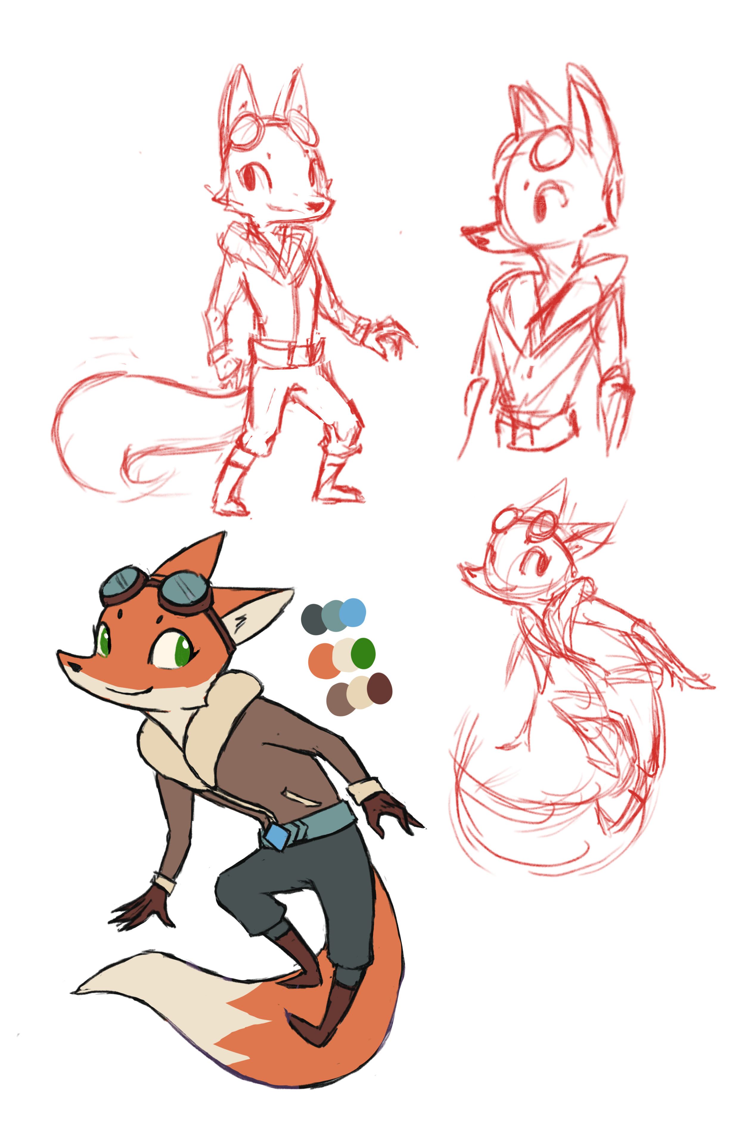 Concept Art for the fox character, Foxfire