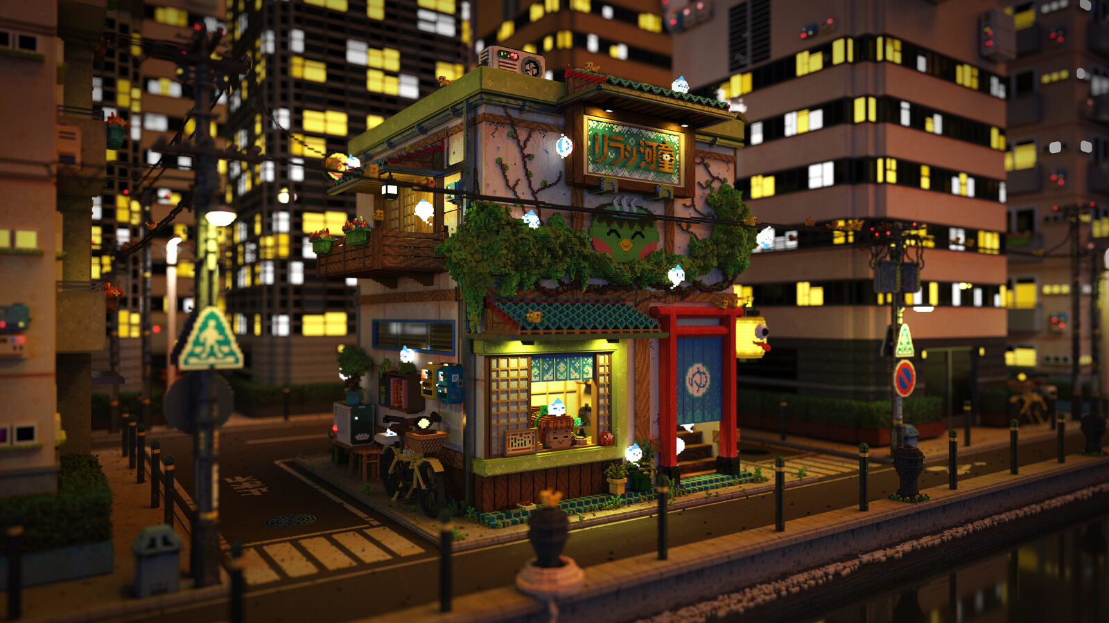 Voxel Game Project - Onsen Street - Night