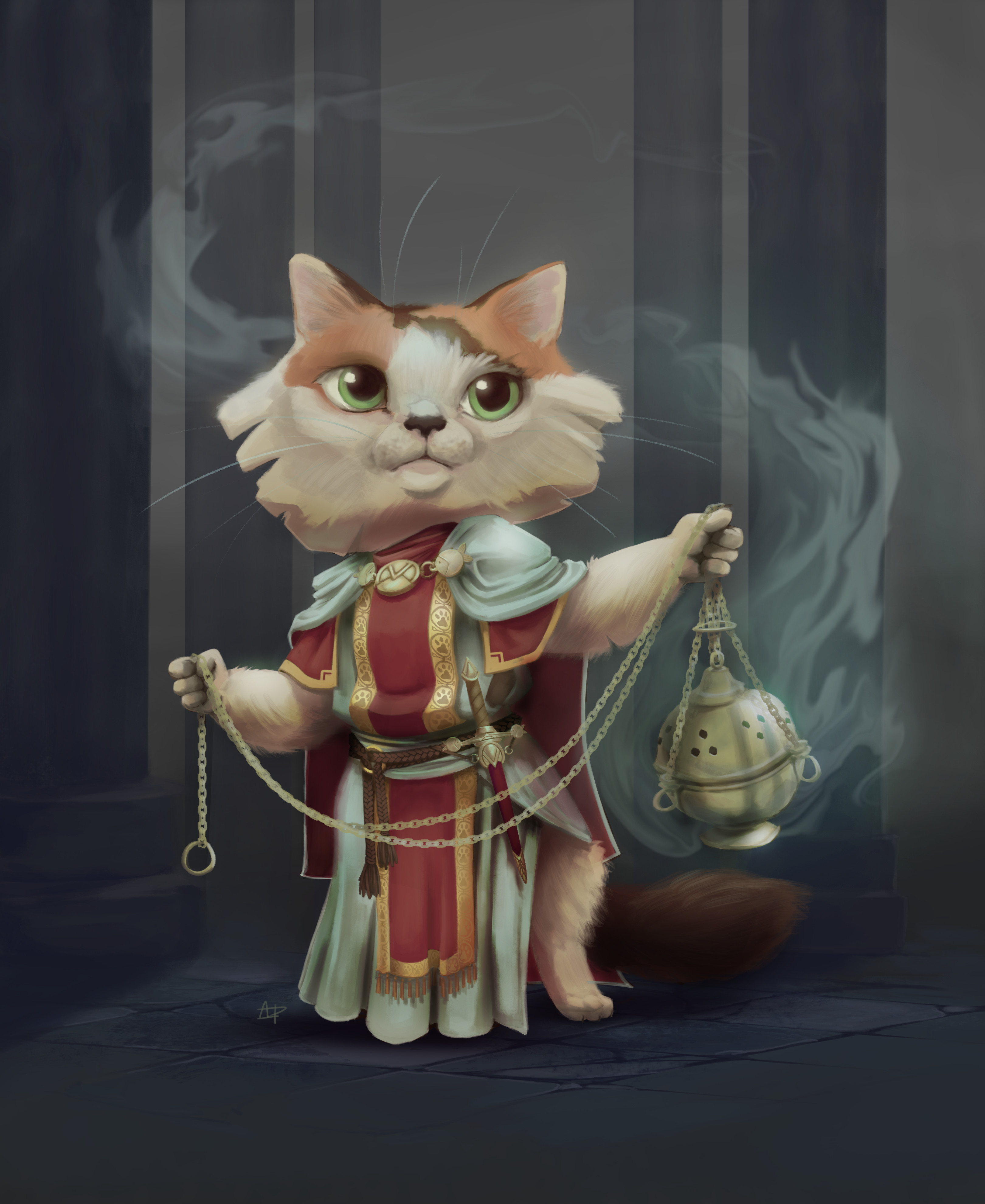 The pungent scent of the incense fills the halls yet again as Kitten performed her daily ritual. The smoke always stung Kitten's eyes ever so slightly but she didn't mind for she was proud to carry out her duty.