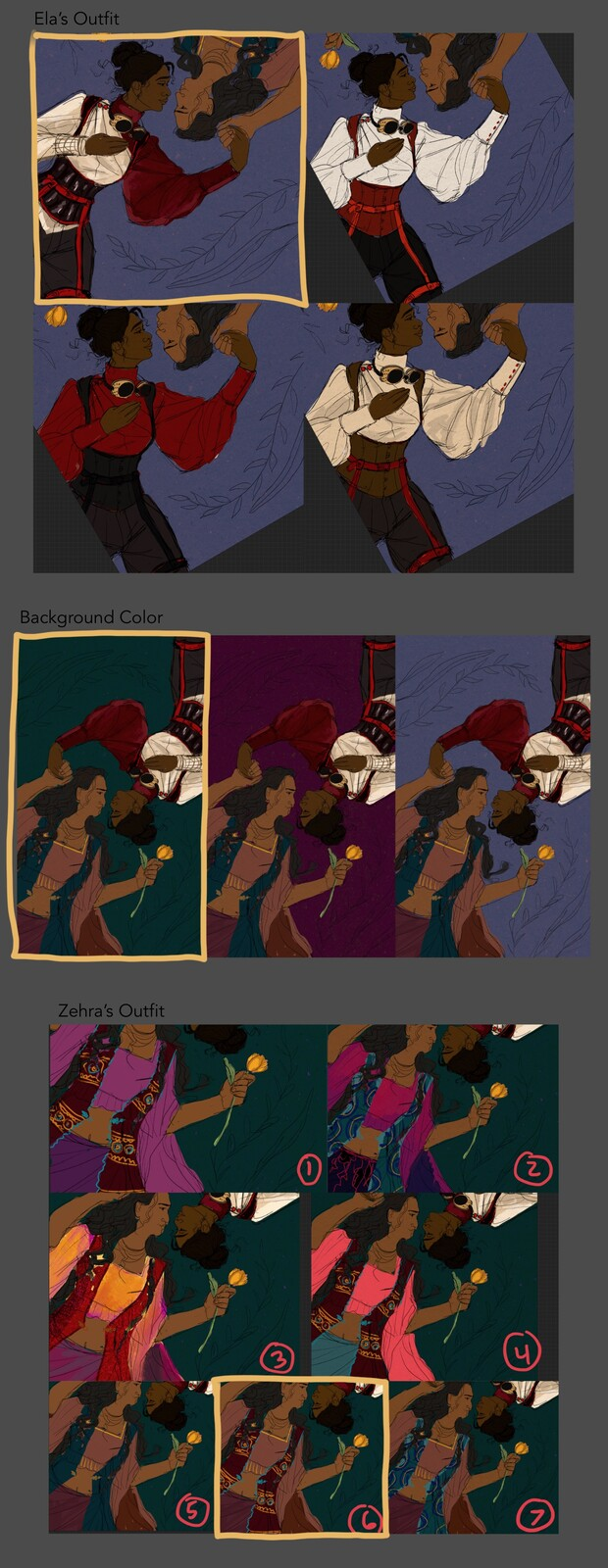 Color comps exploring different color palettes! The ones my client selected are outlined in gold.