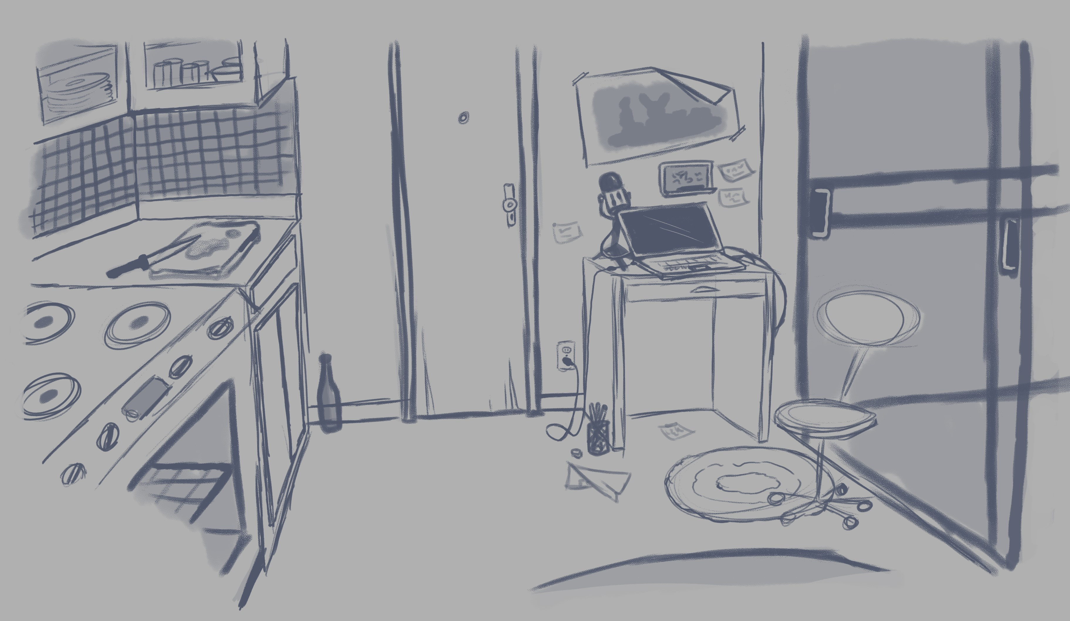 Rough sketch of kitchen/living room.