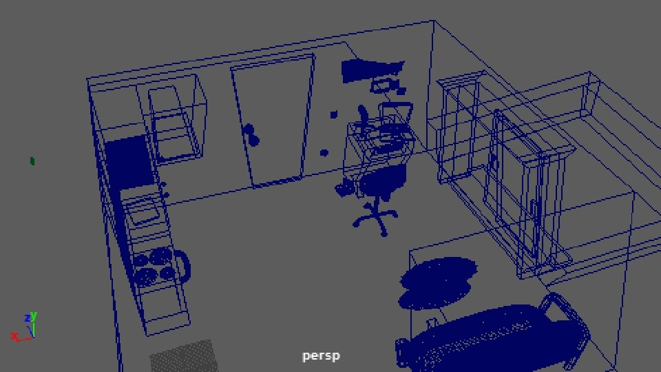 Wireframe view of 3D environment.