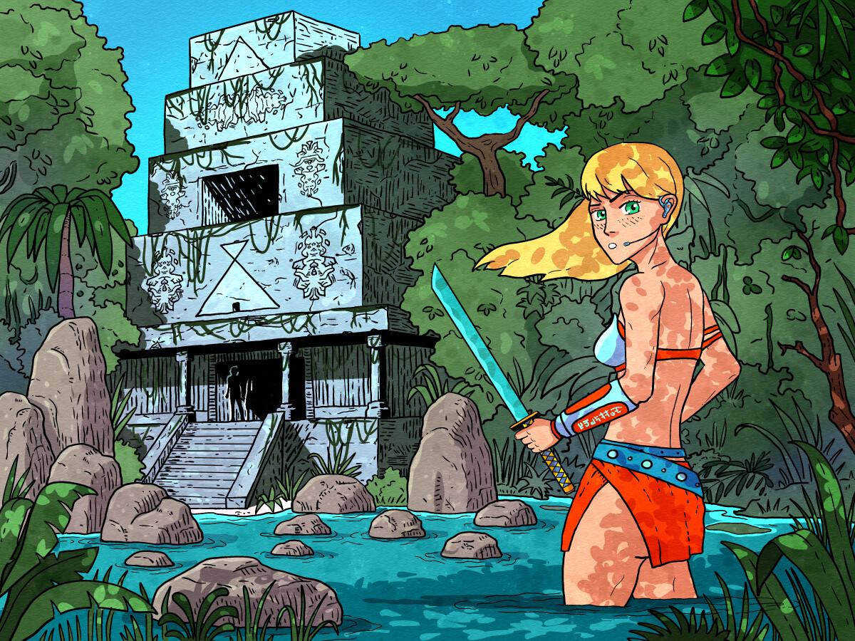 Girl in the Jungle art illustration