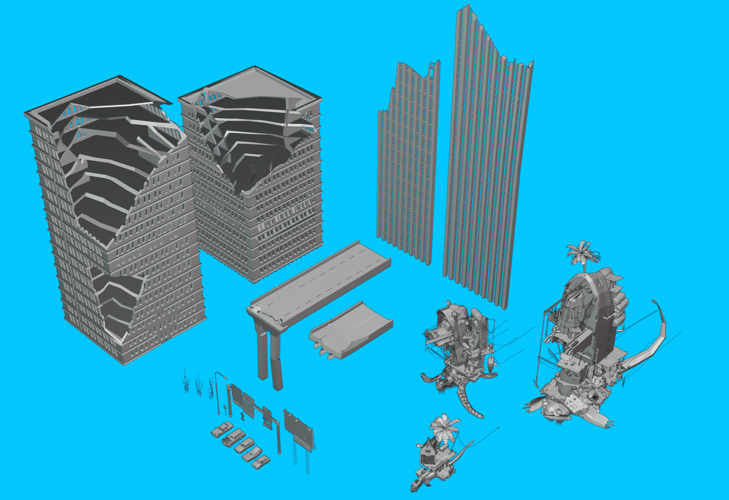 3D roughs of some of the assets I used