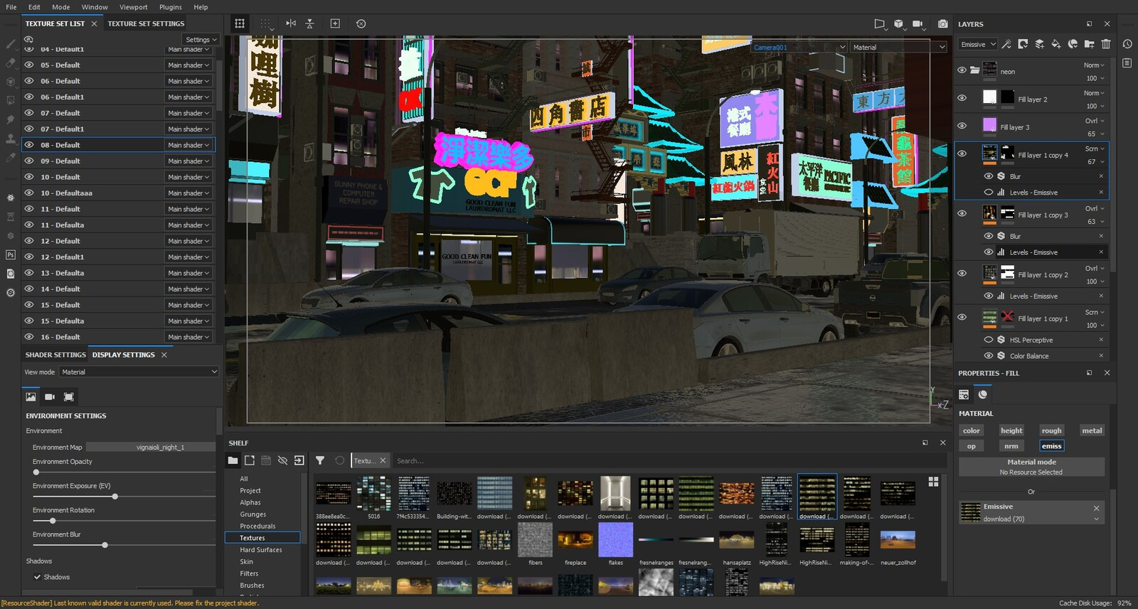 Substance painter screenshot. Loaded the entire 3d scene, textured and rendered completely in that app.
