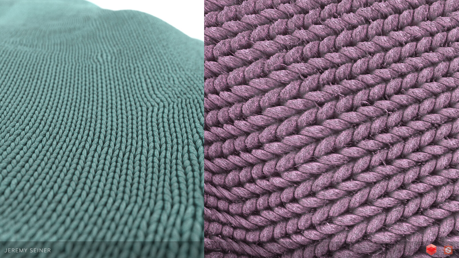Close-ups of the standard wool knit pattern texture.