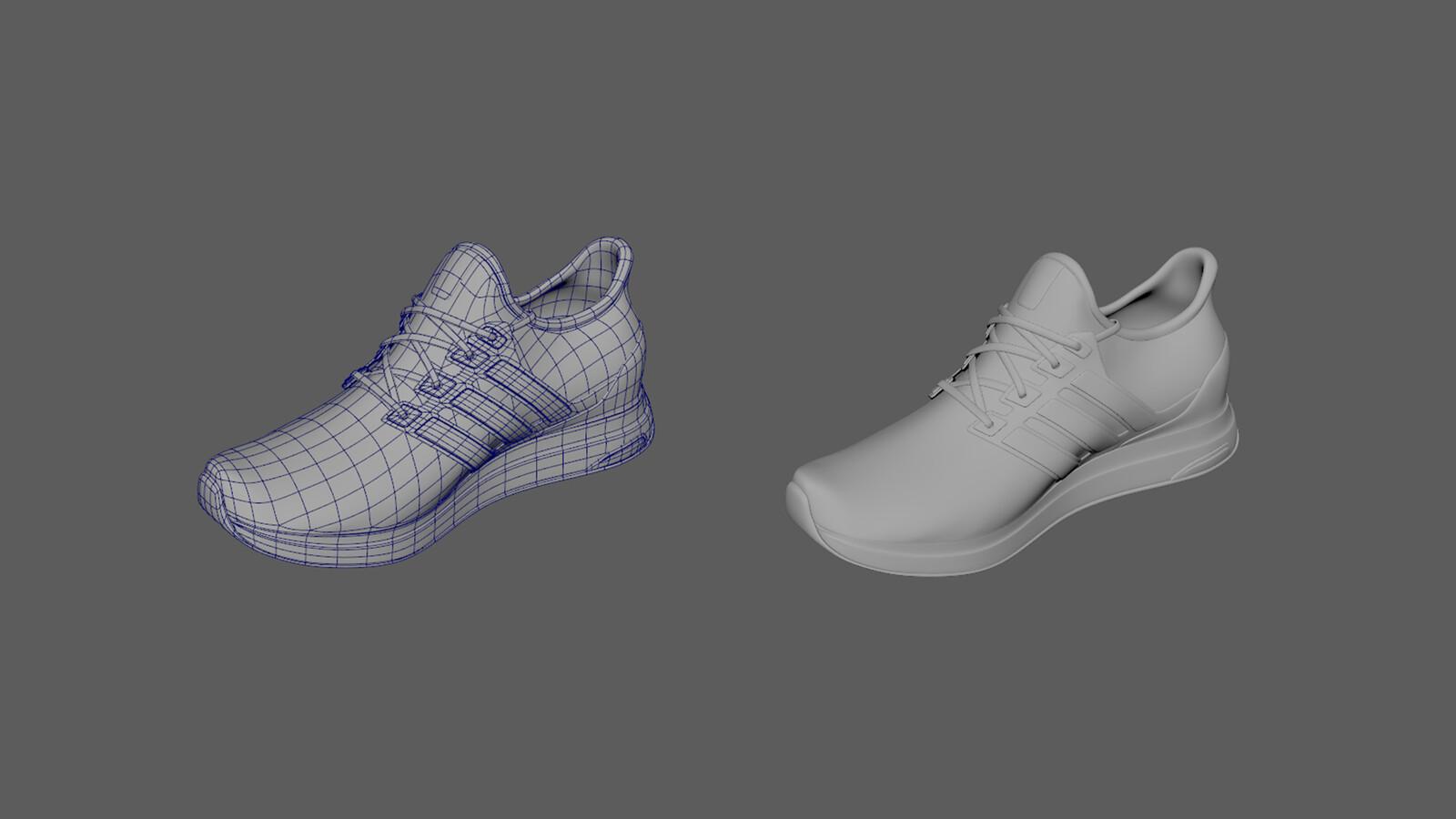 Model of shoe. Made in Autodesk Maya