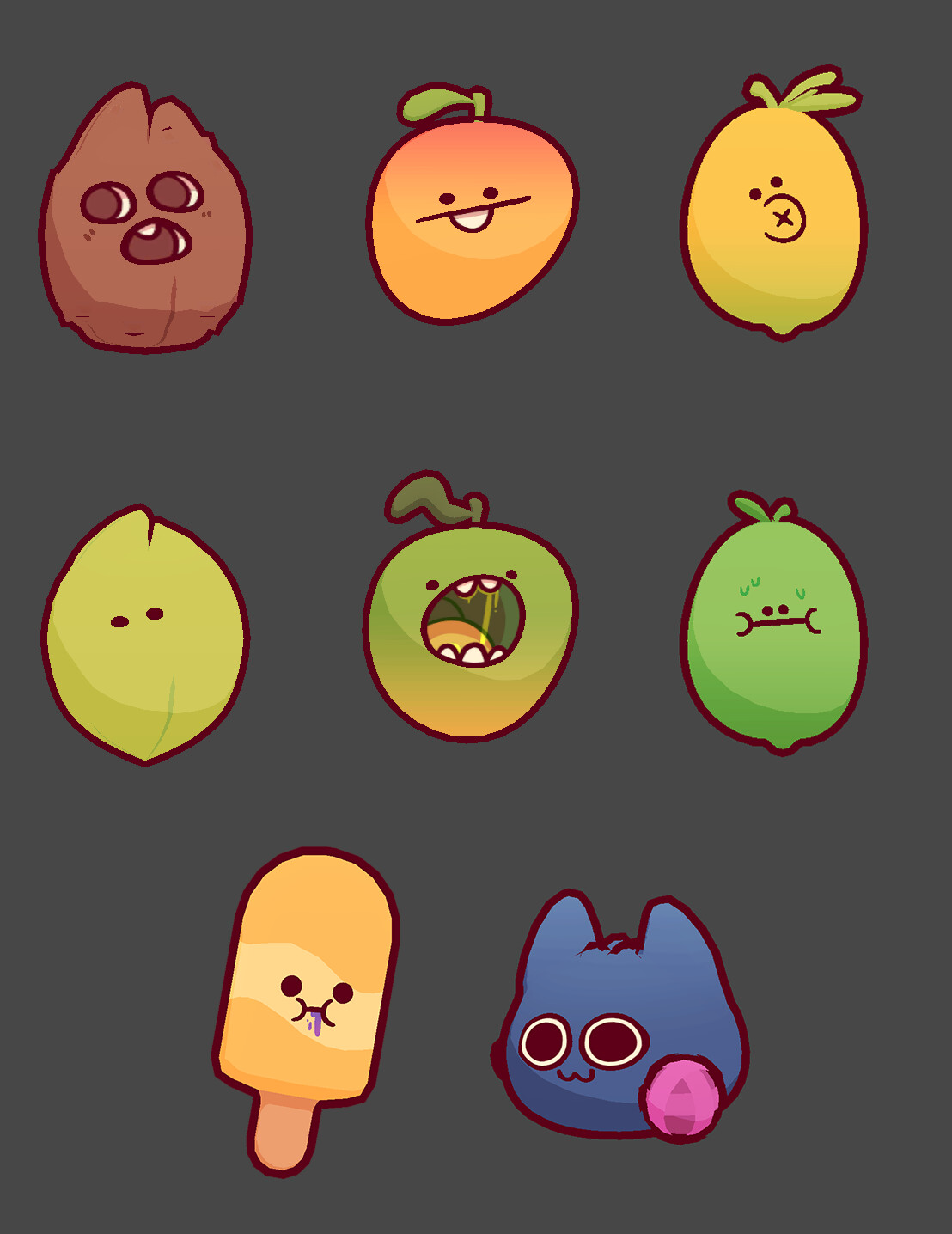Just a few of the various fruits that I created