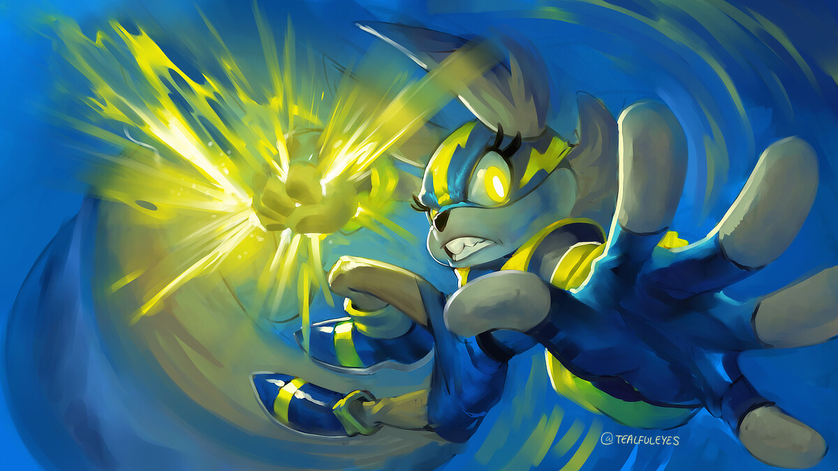 Tessa the squirrel delivering an electrifying thunder punch.
