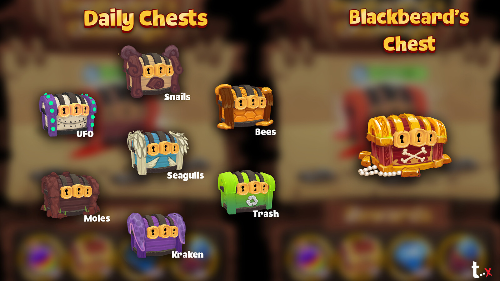 Concepts of themed chests for daily events.