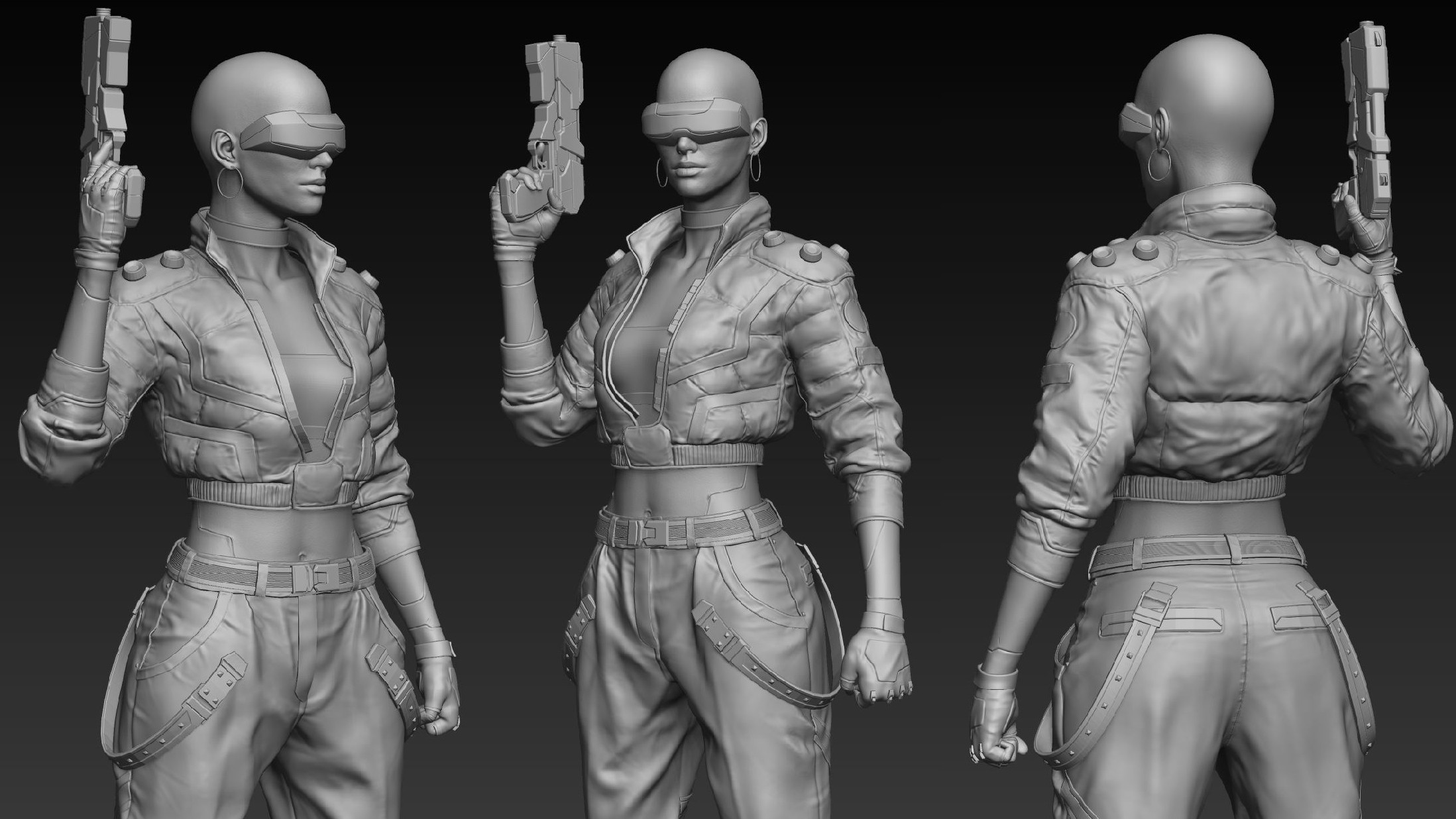 High-polygon mesh sculpted in Zbrush.