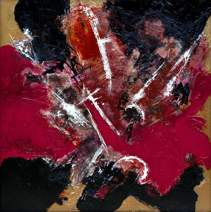 IRA_Q 90 x90 cm oil  varnish plaster on canvas