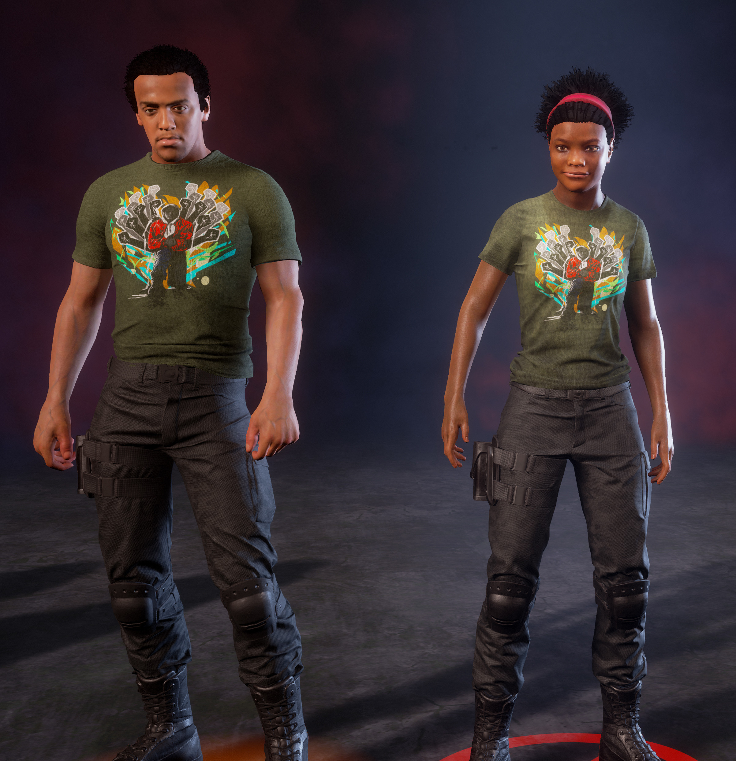 Previs of shirt design on game characters (characters created by Undead Labs team)