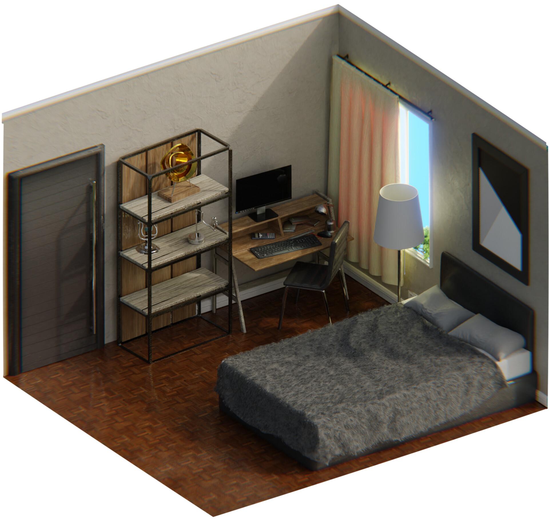 Artstation Isometric Bedroom Henry Law