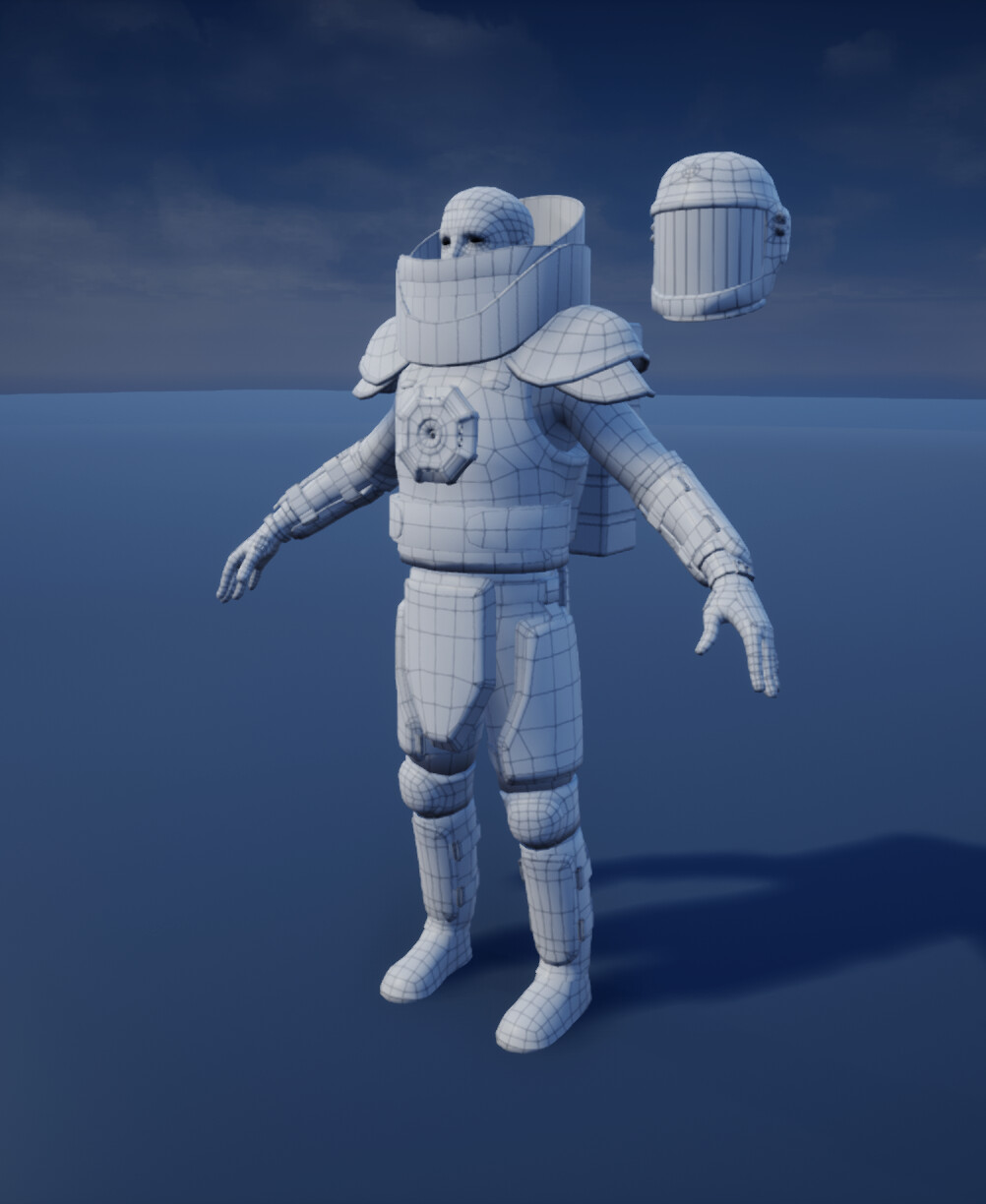 Low Poly Mesh Wireframe Front