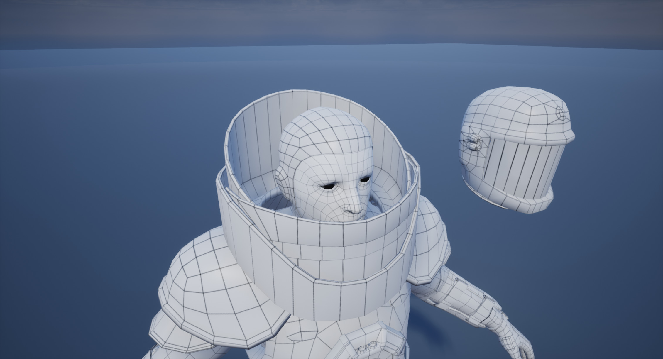 Low Poly Mesh Wireframe Face
