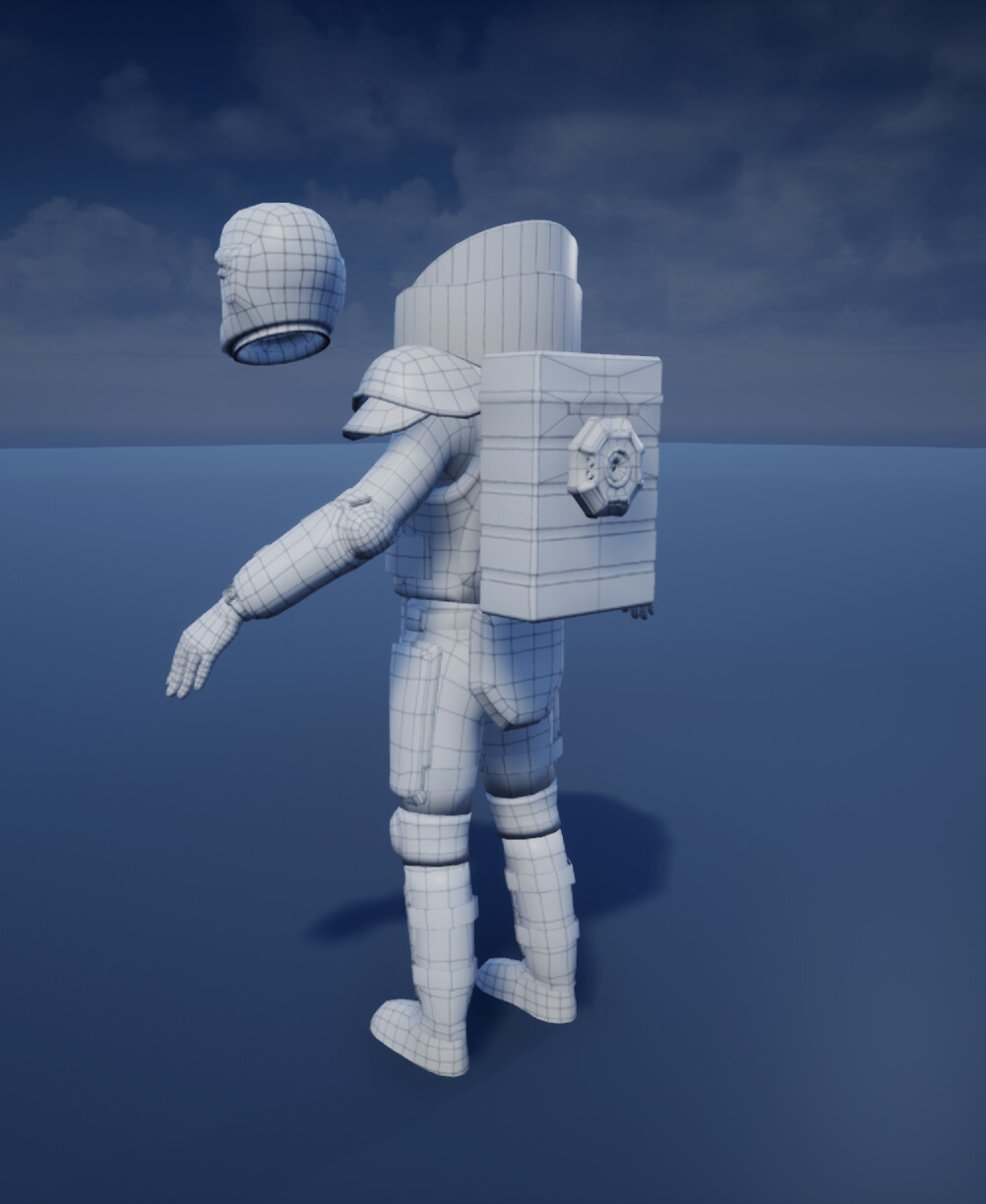 Low Poly Mesh Wireframe Back