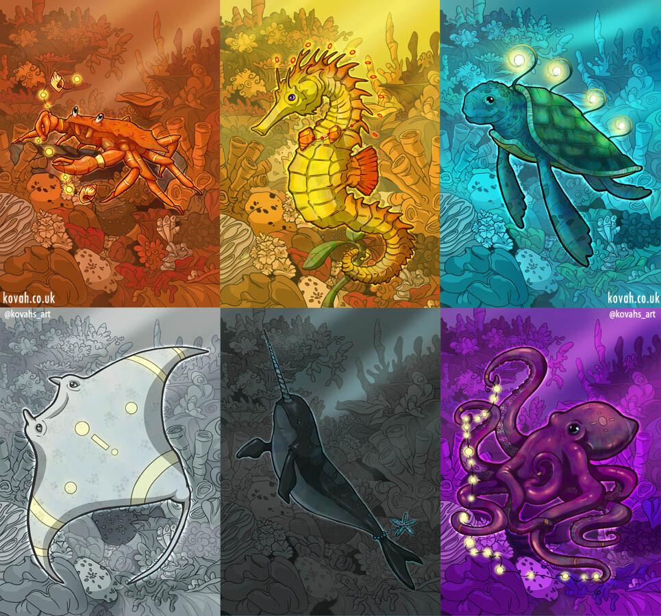 Sea creature cards