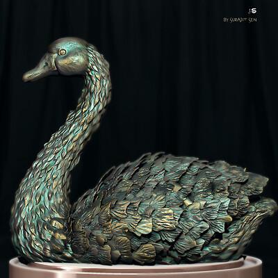 Surajit sen swan digital sculpture surajitsen feb2021aa1 l
