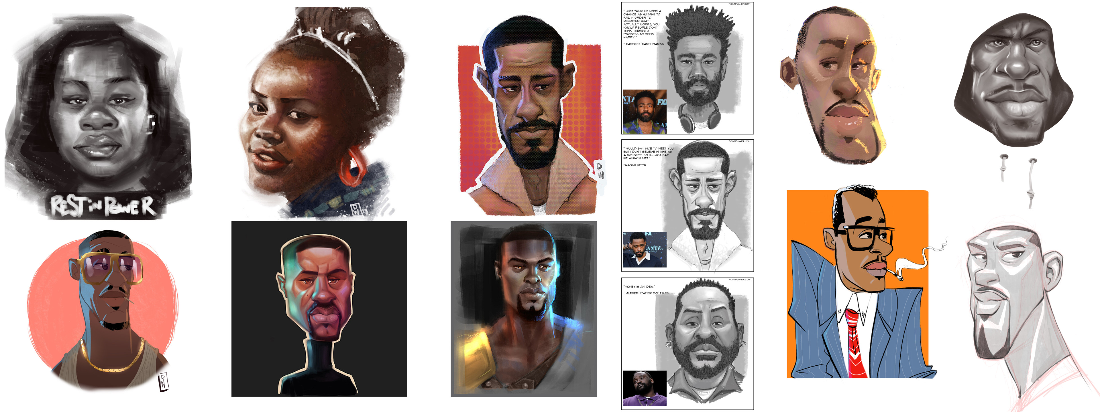 Exploration into painting darker skin tones in various styles