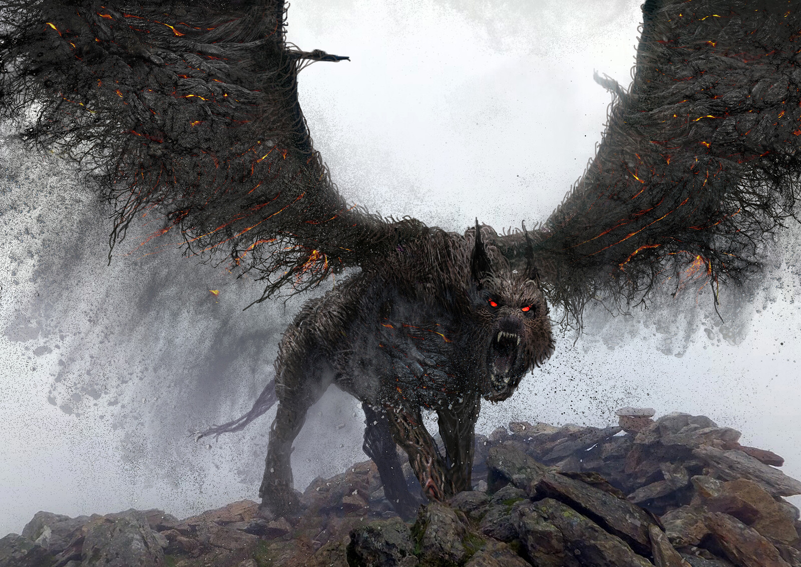 Flying wolf creature