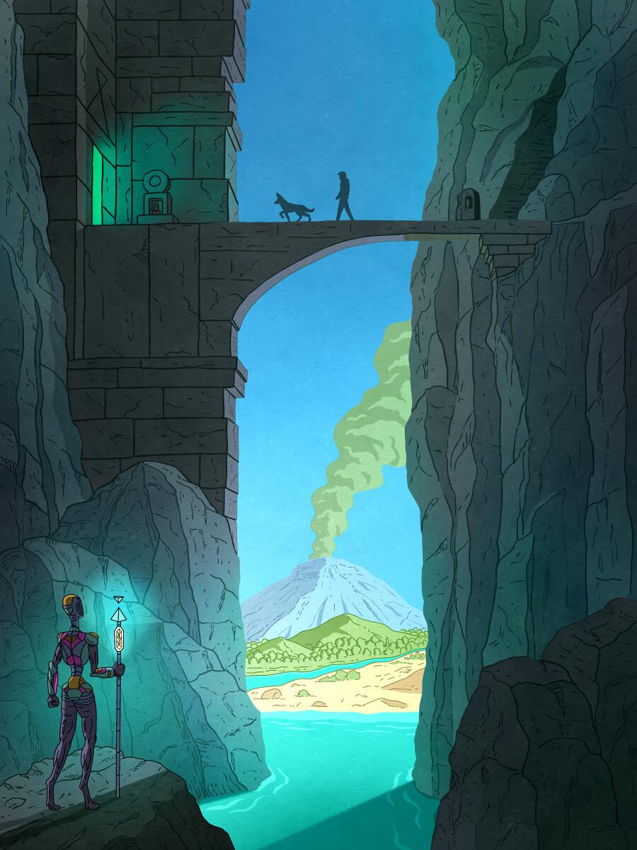 Mountain Temple Poster Illustration