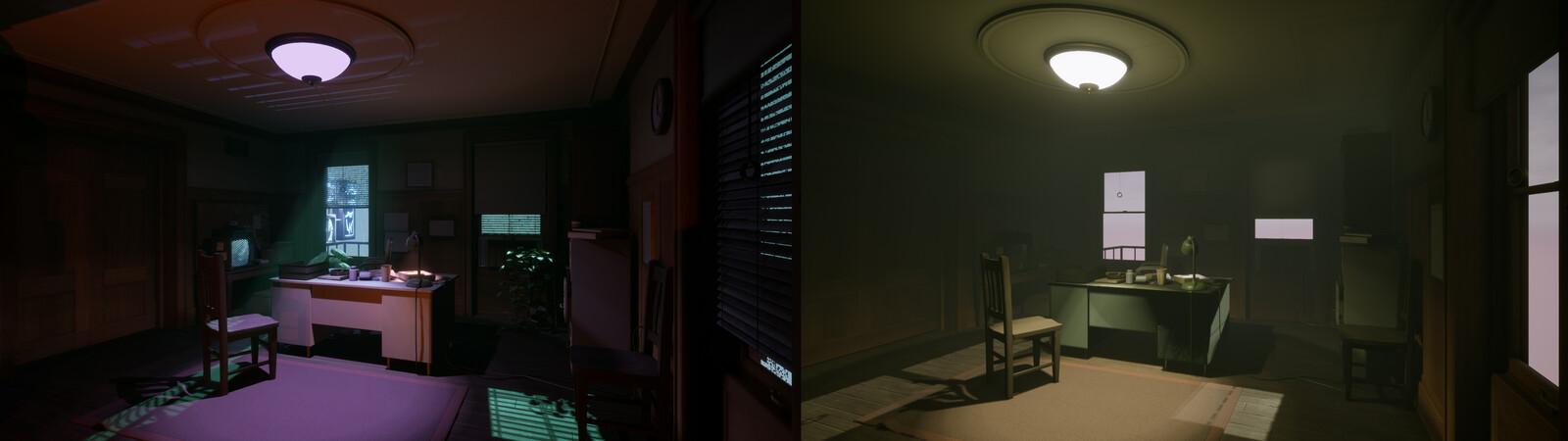 My relighted scene / the original scene