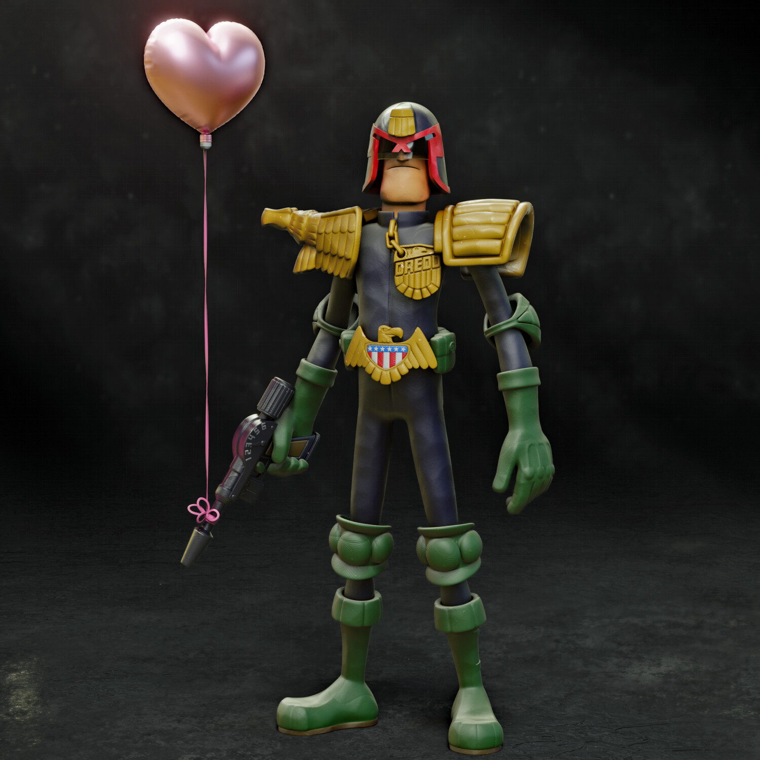 Claymation style Dredd- He is the LAW!