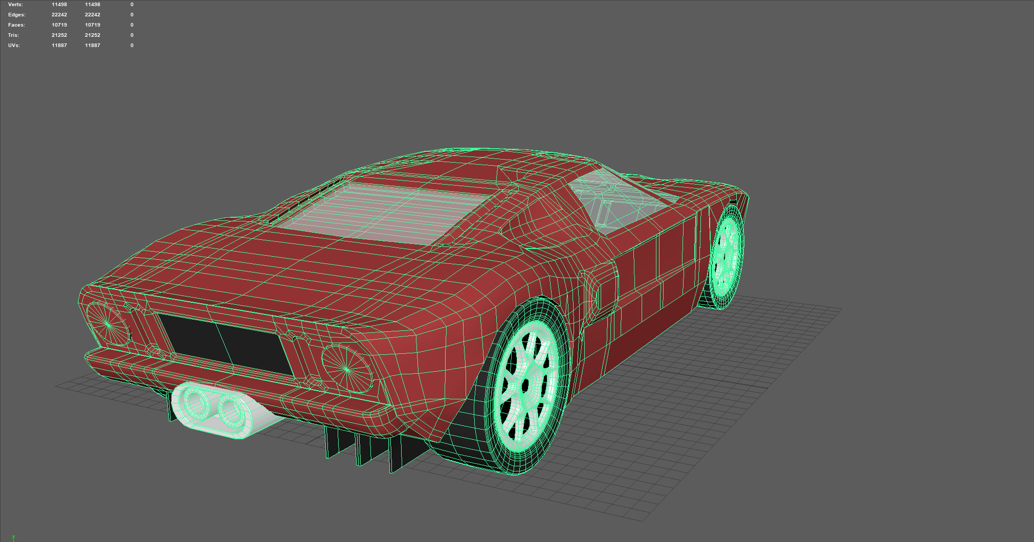 All in all, Im very happy with both the shape and the topology in the low poly model.