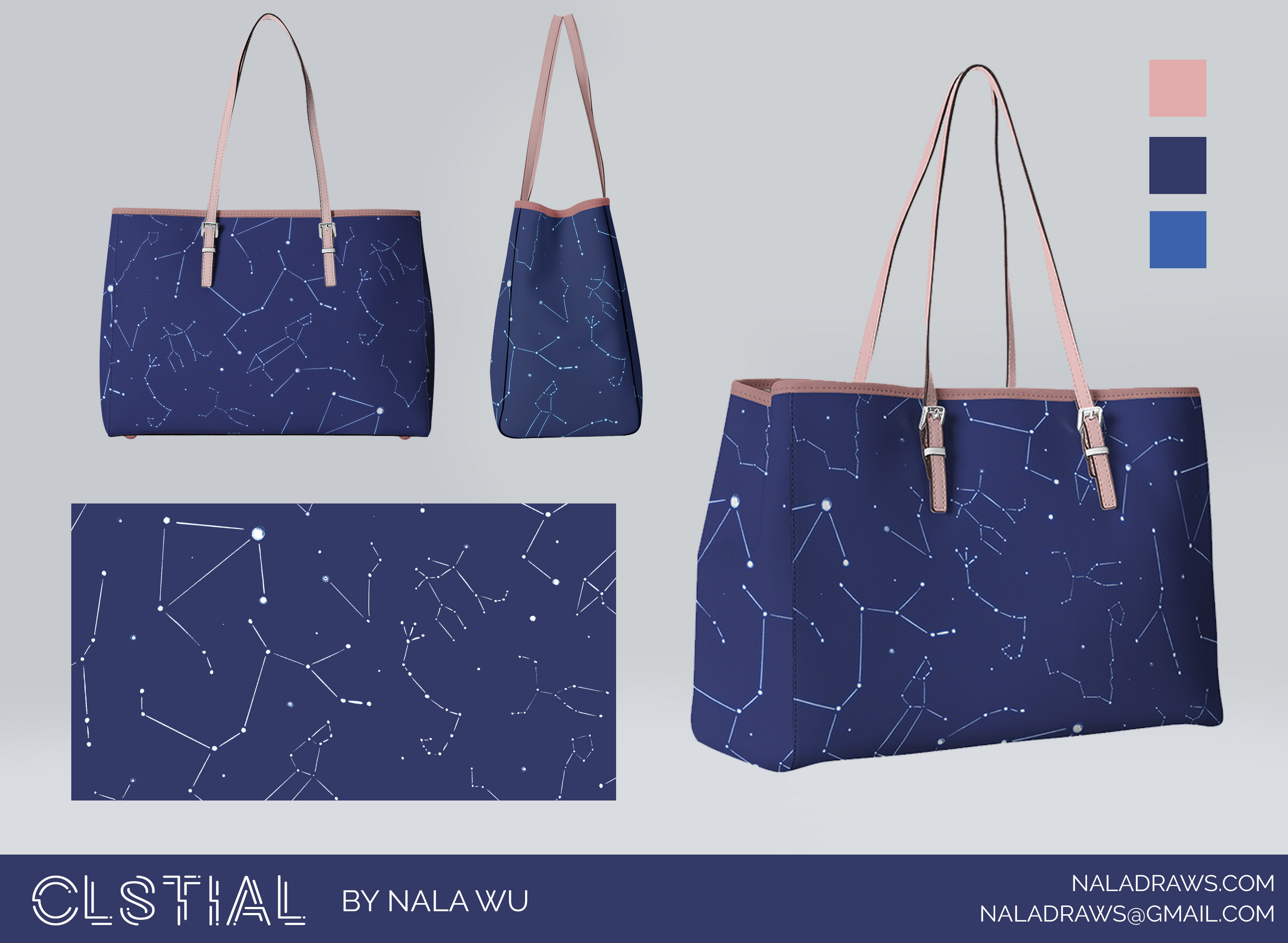 Three mockups of the handbag with a color palette