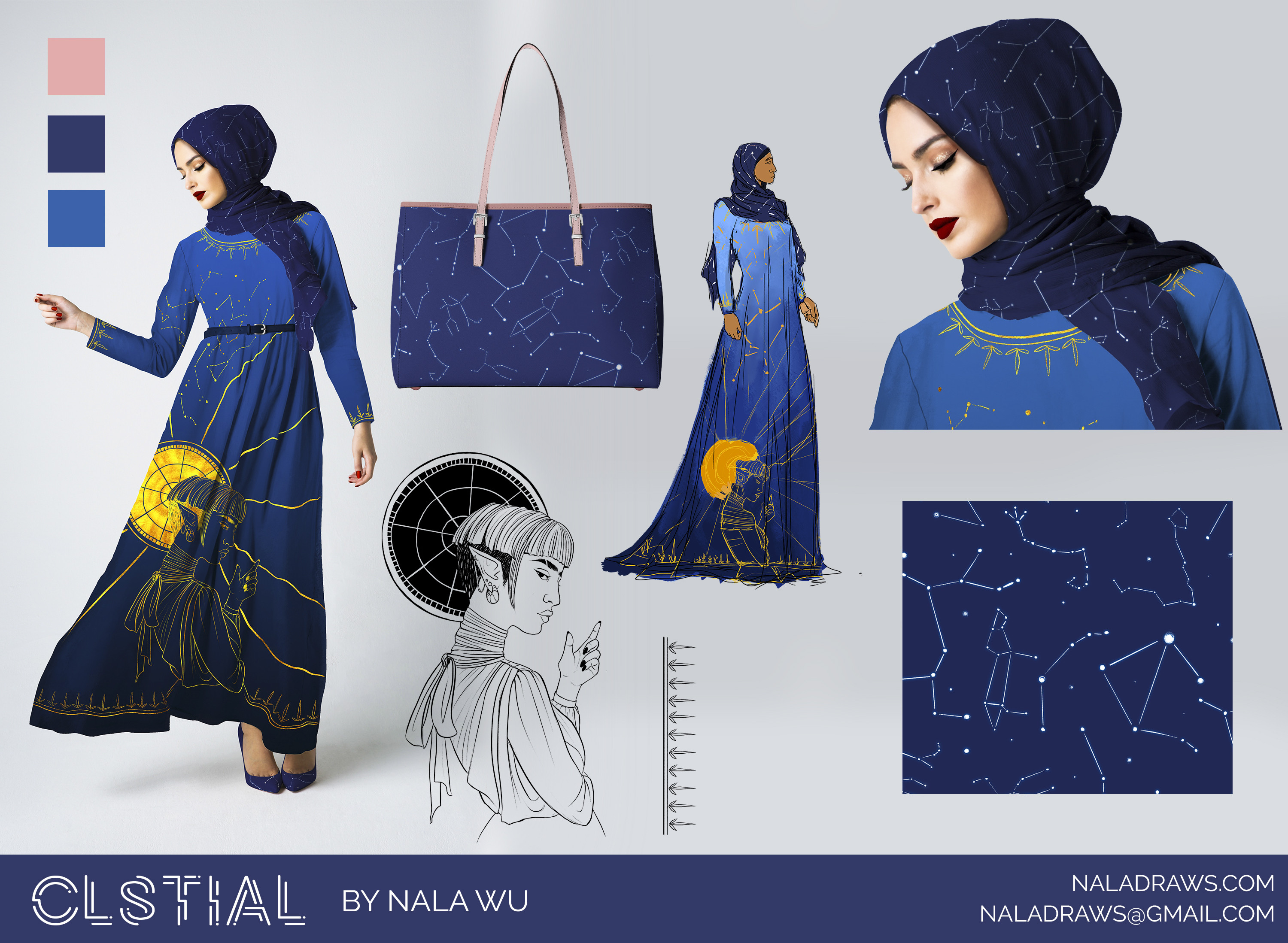 A full mockup page with a concept sketch, the full gown, the line art illustration, the pattern, a closeup of the headscarf, a handbag mockup, and the CLSTIAL repeat pattern itself