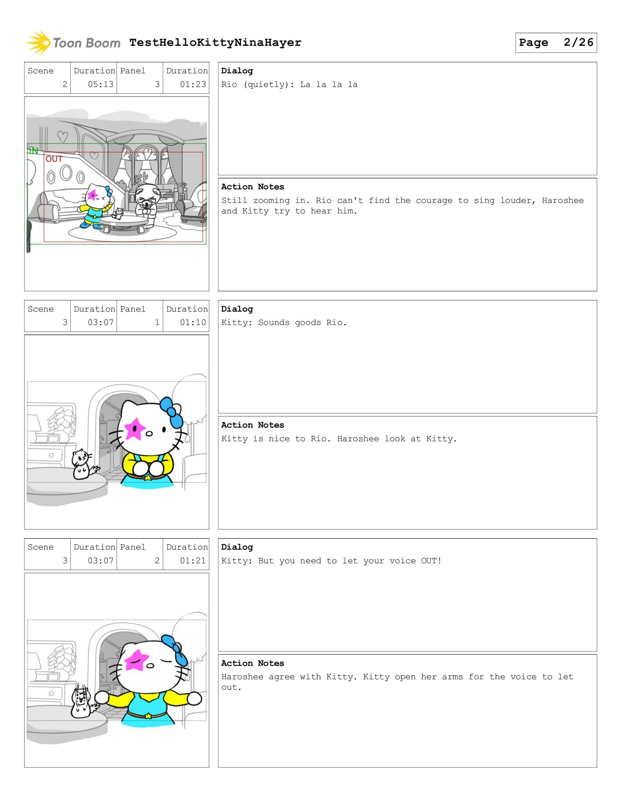 Test Storyboard for Hello Kitty (made with Storyboarder Pro)
