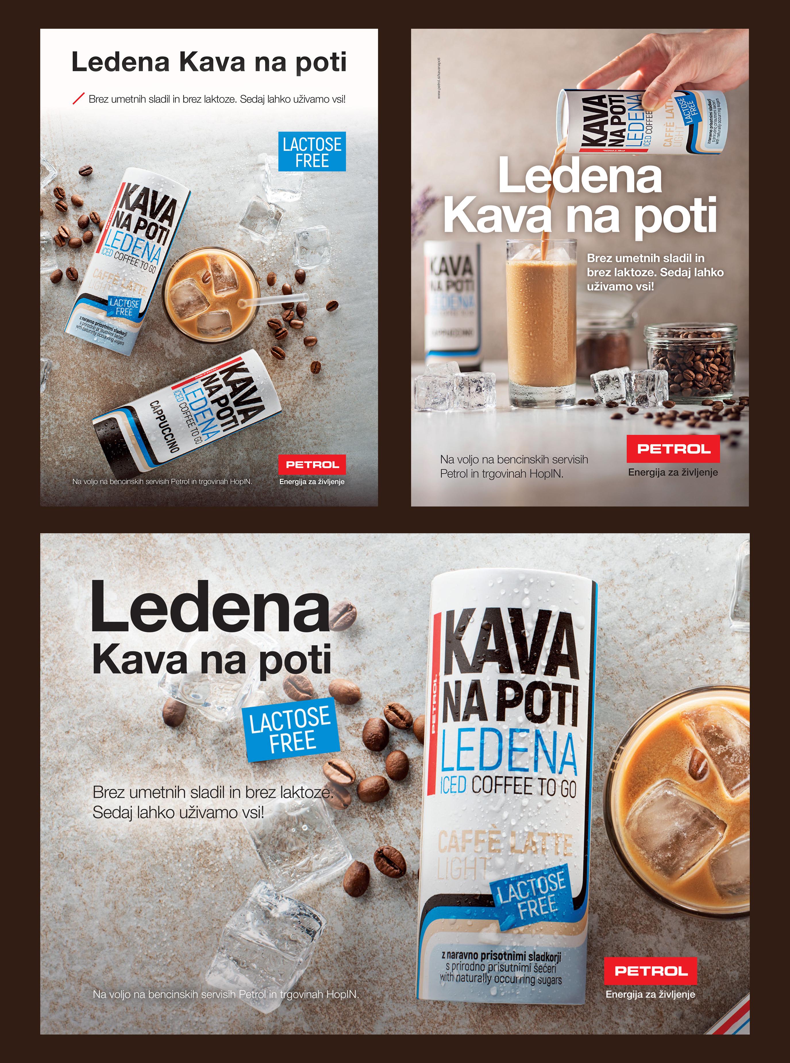 Trije izbrani plakati za blagovno znamko Ledena Kava na poti.