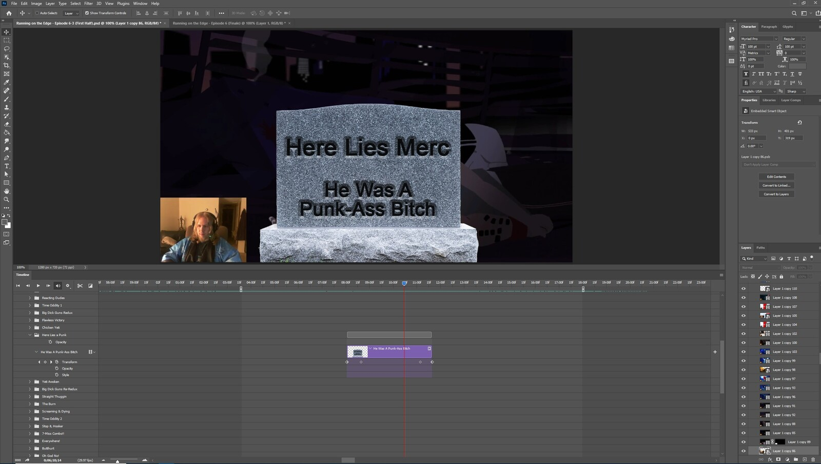 """The """"Here Lies a Punk"""" visual effect within Photoshop video editor"""