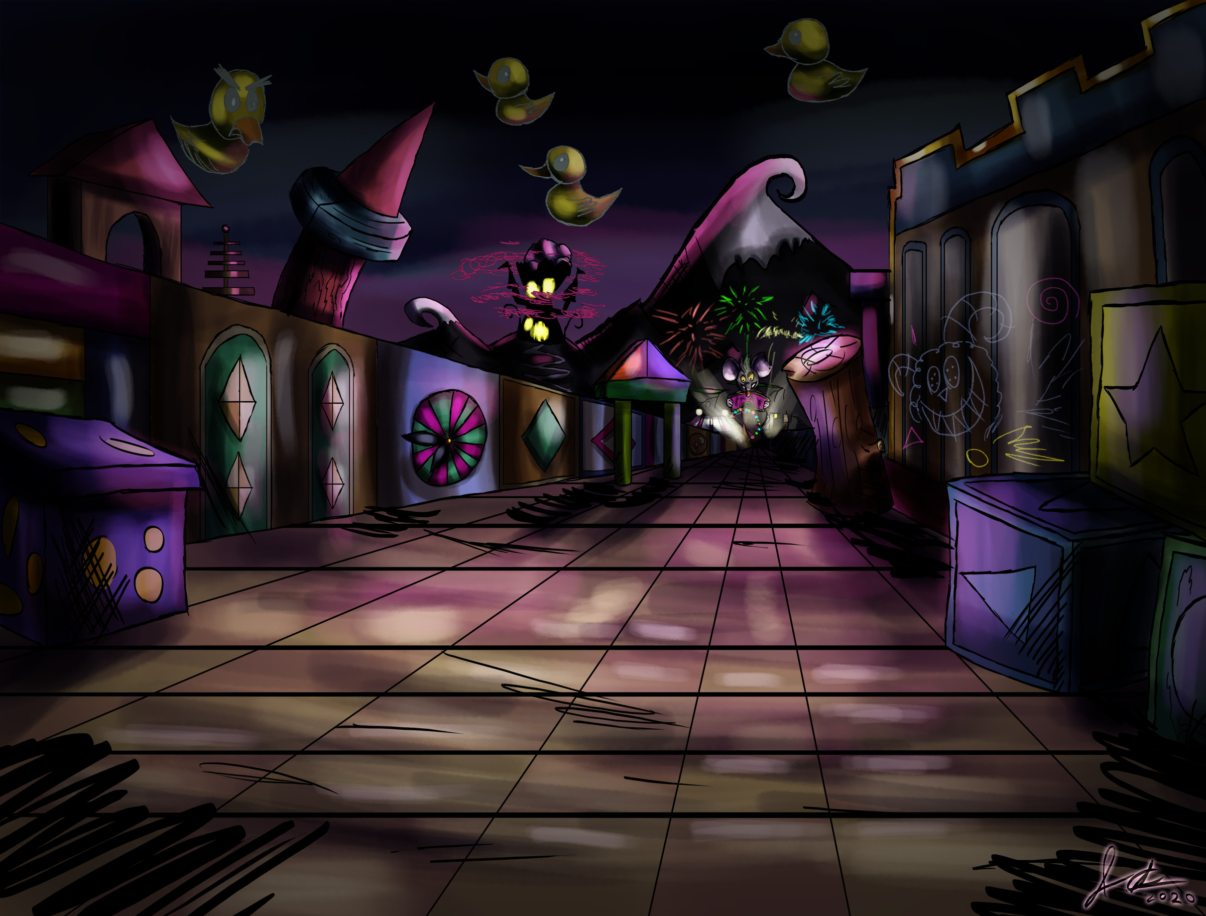 Toybox city, I was going for a really dark palette in this game.