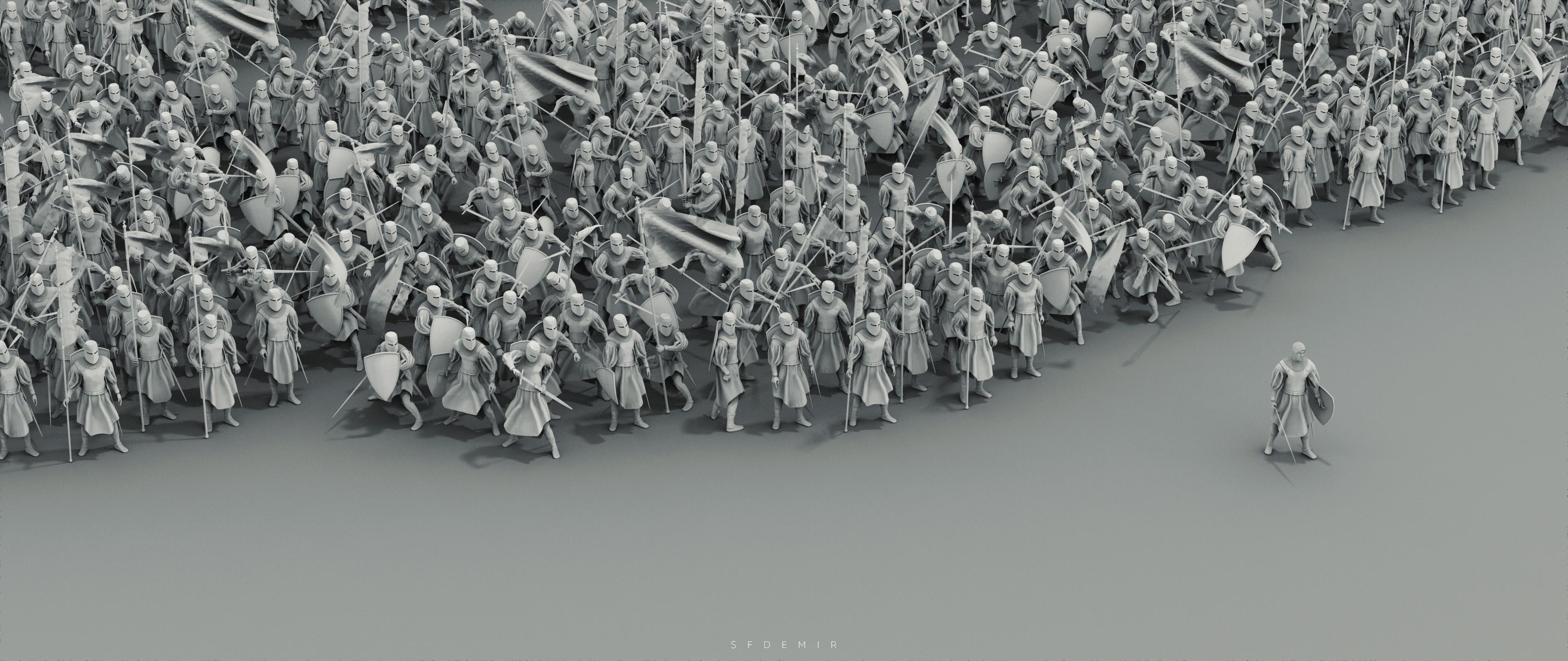 Main Render - Waiting For War - Studio Scene - Clay Render