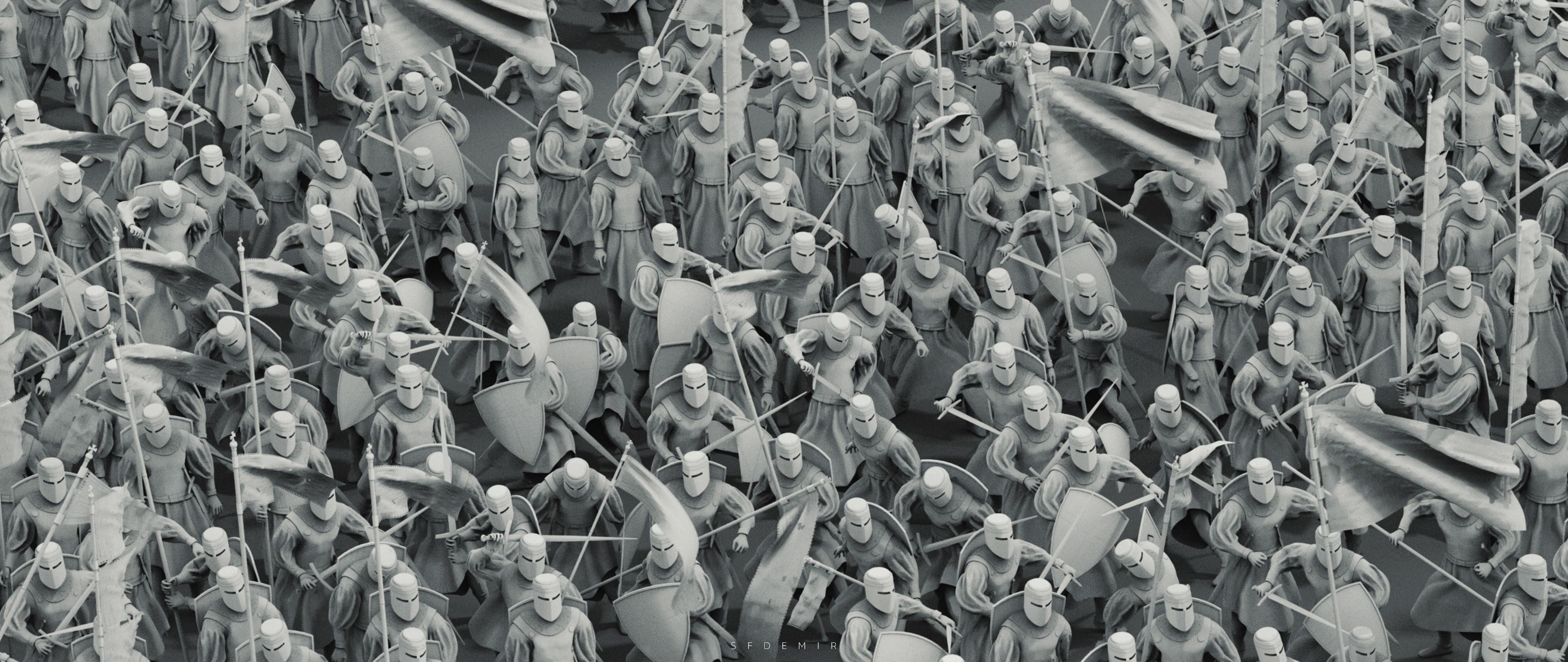 Preparing For War Scene - Shot 02 - Clay Render